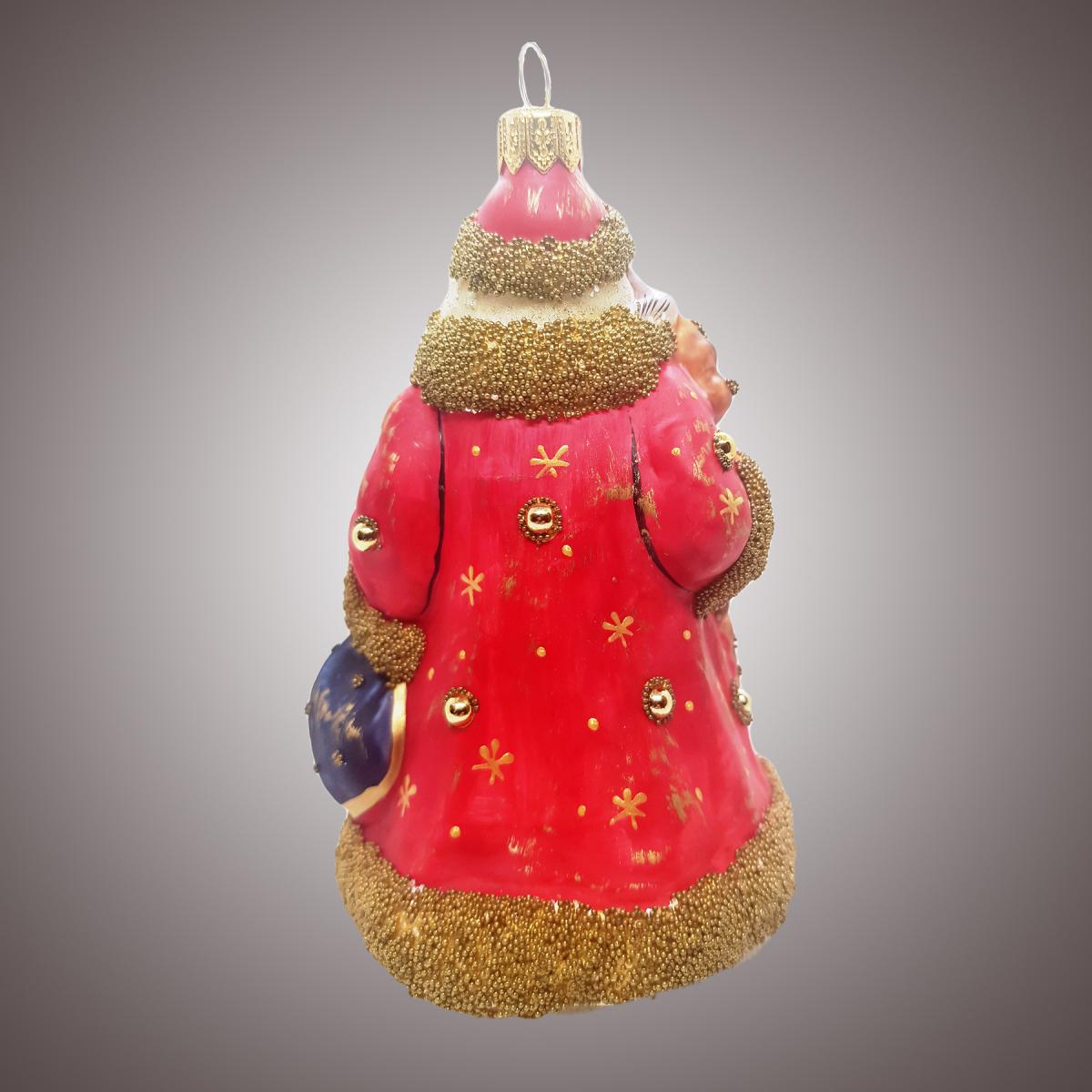 Дед Мороз с птичкой на плече, посохом и мешком (винтаж)
