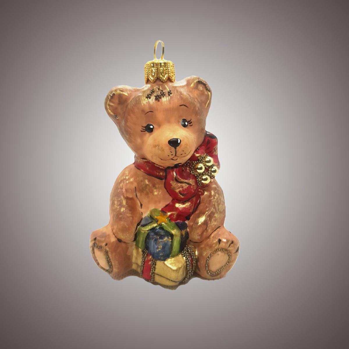 Мишка с бантом и подарочками (винтаж)