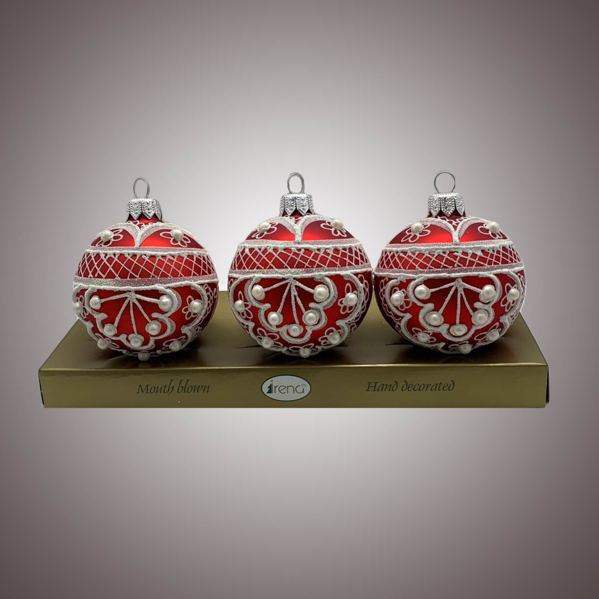 Набор шаров Д60 по 3 шт Веер белый на красном АРТ. 80313