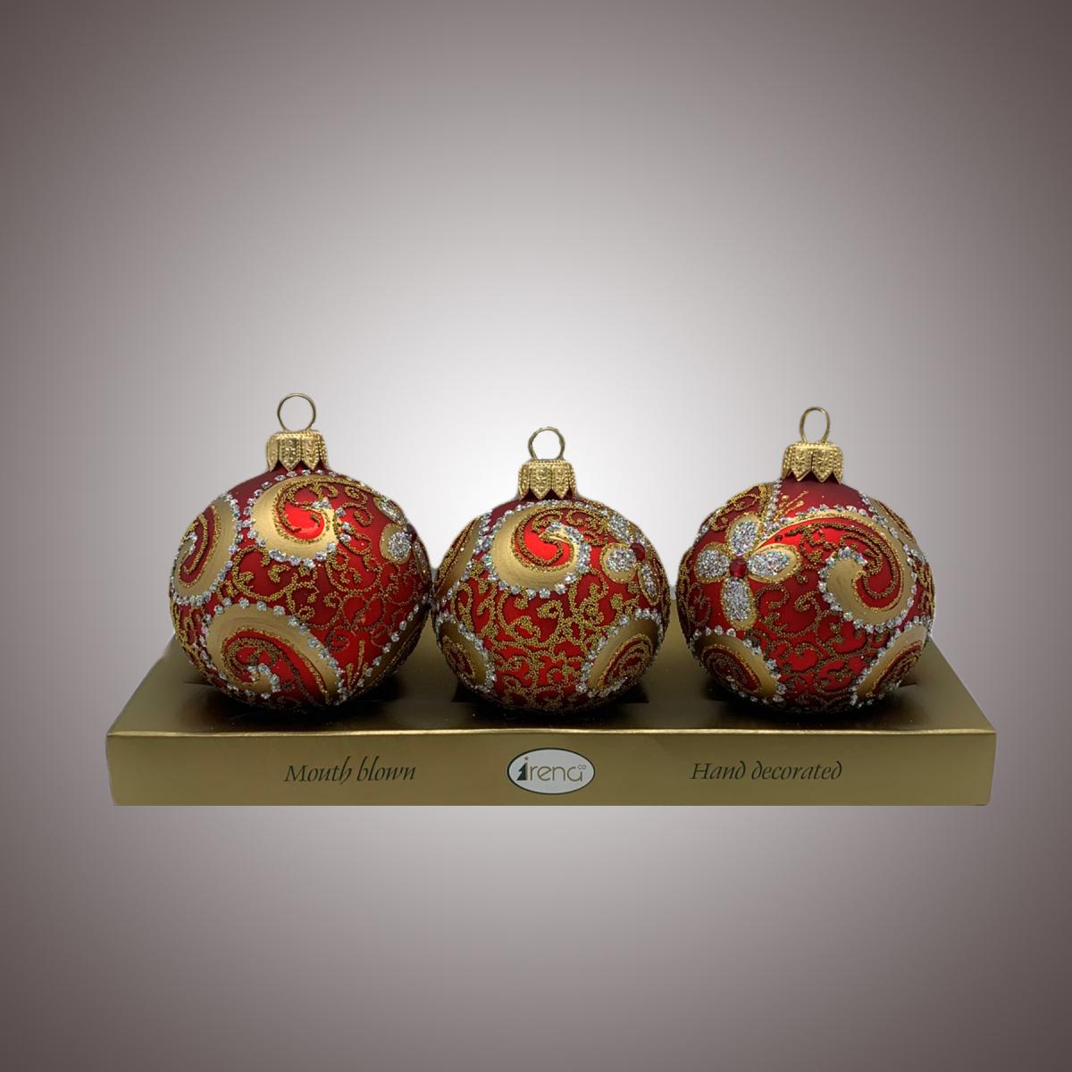 Набор шаров Д60 по 3 шт Бронзовый декор на красном АРТ 80316