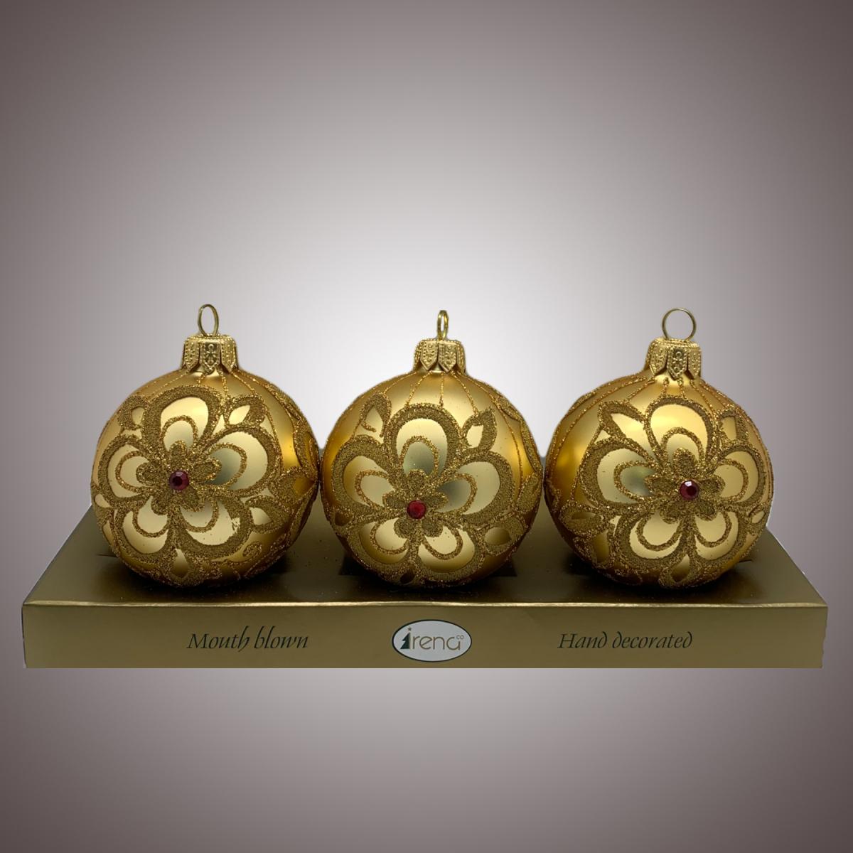 Набор шаров Д60 по 3 шт Ришелье золото АРТ 80323