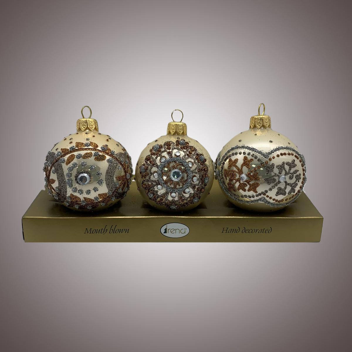 Набор шаров Д60 по 3 шт Драгоценные россыпи корич. на беж. АРТ. 80325