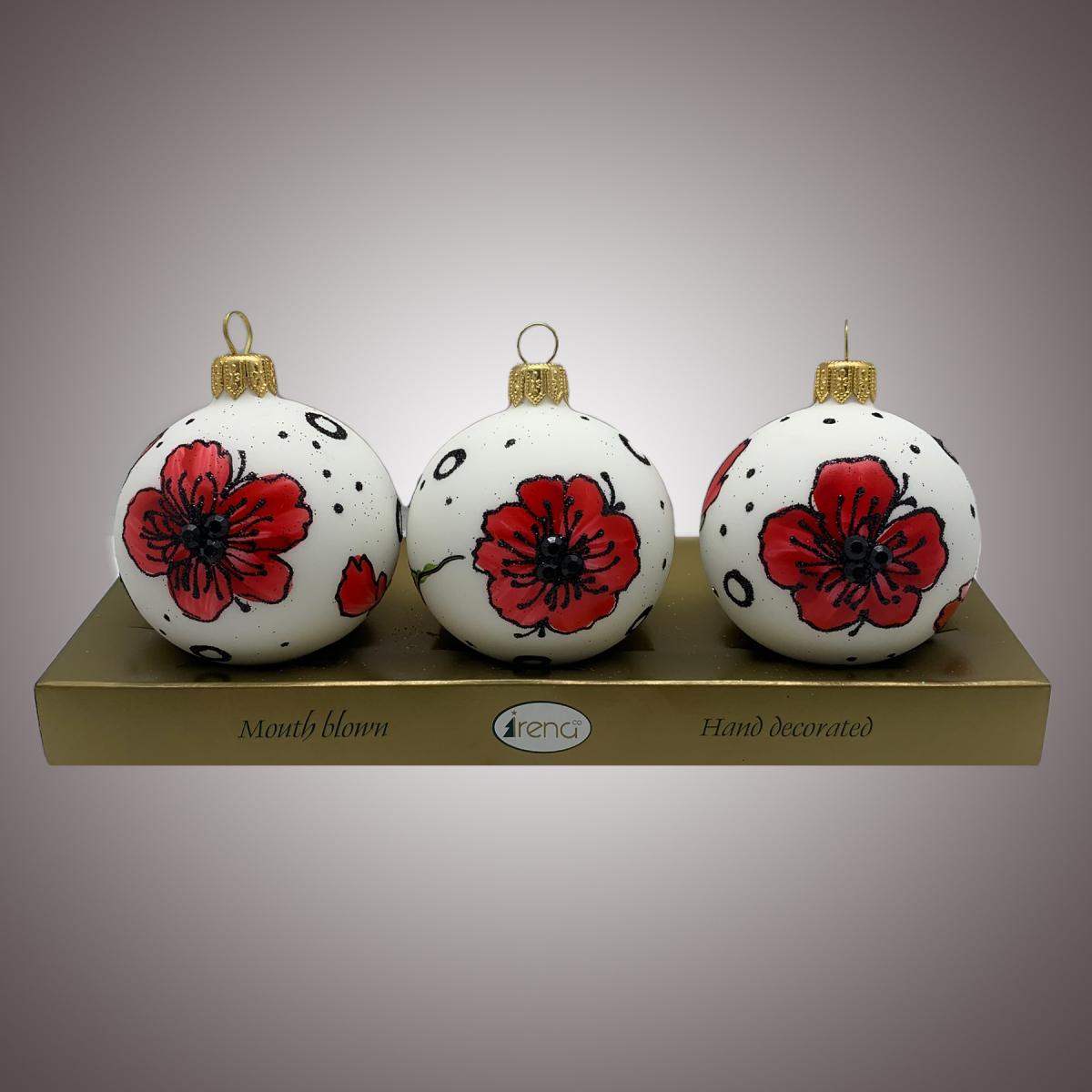 Набор шаров Д60 по 3 шт Маки красные на белом АРТ 80338