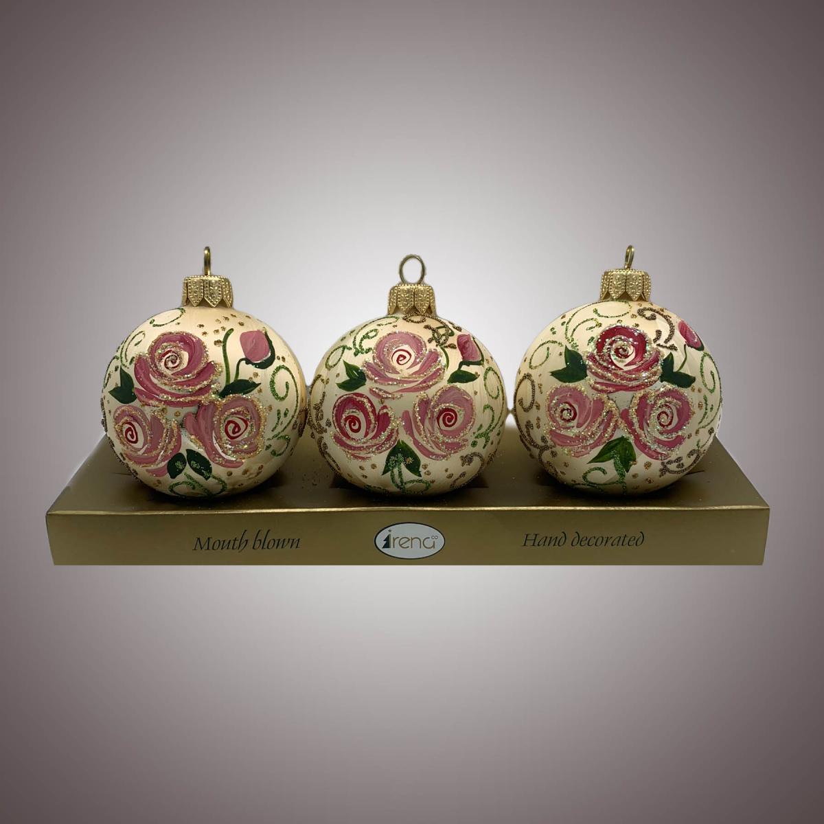 Набор шаров Д60 по 3 шт Версаль с крупными розами АРТ. 80366