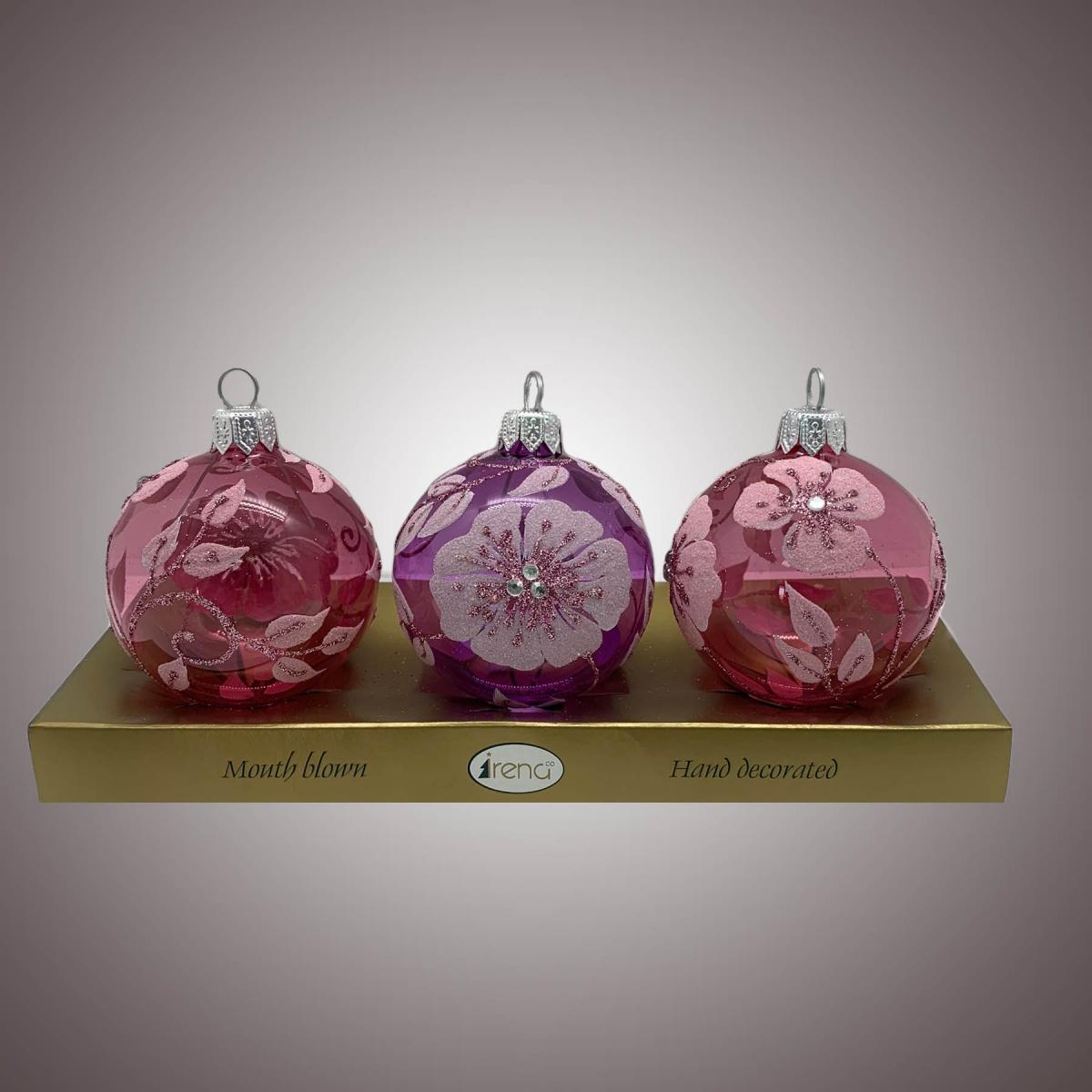 Набор шаров Д60 по 3 шт Барвинок гольё розов. АРТ. 80347