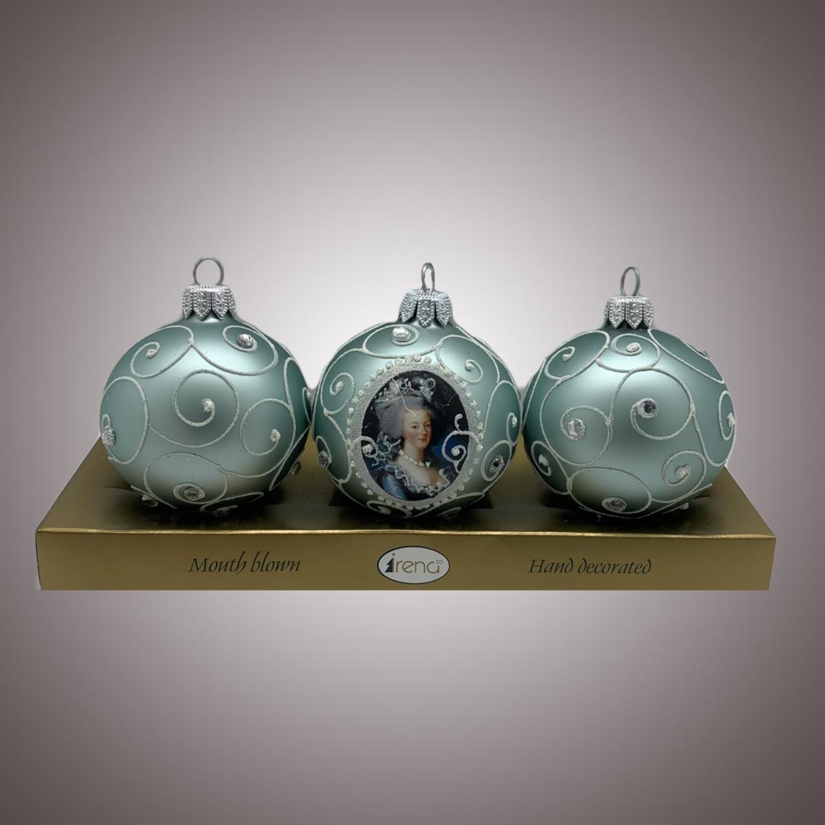 Набор шаров Д60 по 3 шт Портрет дамы (коллекция завитки ) АРТ 80361