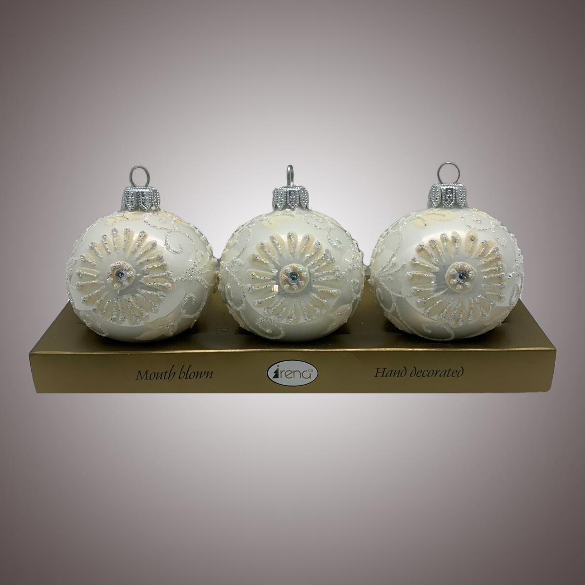 Набор шаров Д60 по 3 шт Флок астра белая АРТ 80305