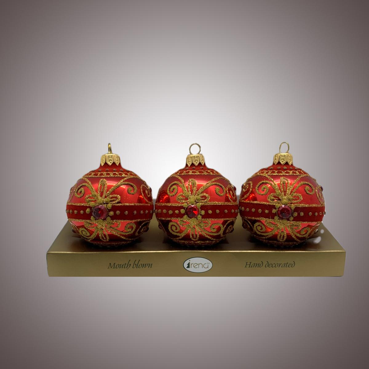 Набор шаров Д60 по 3 шт Флок бабочка в полосе красная АРТ 80315