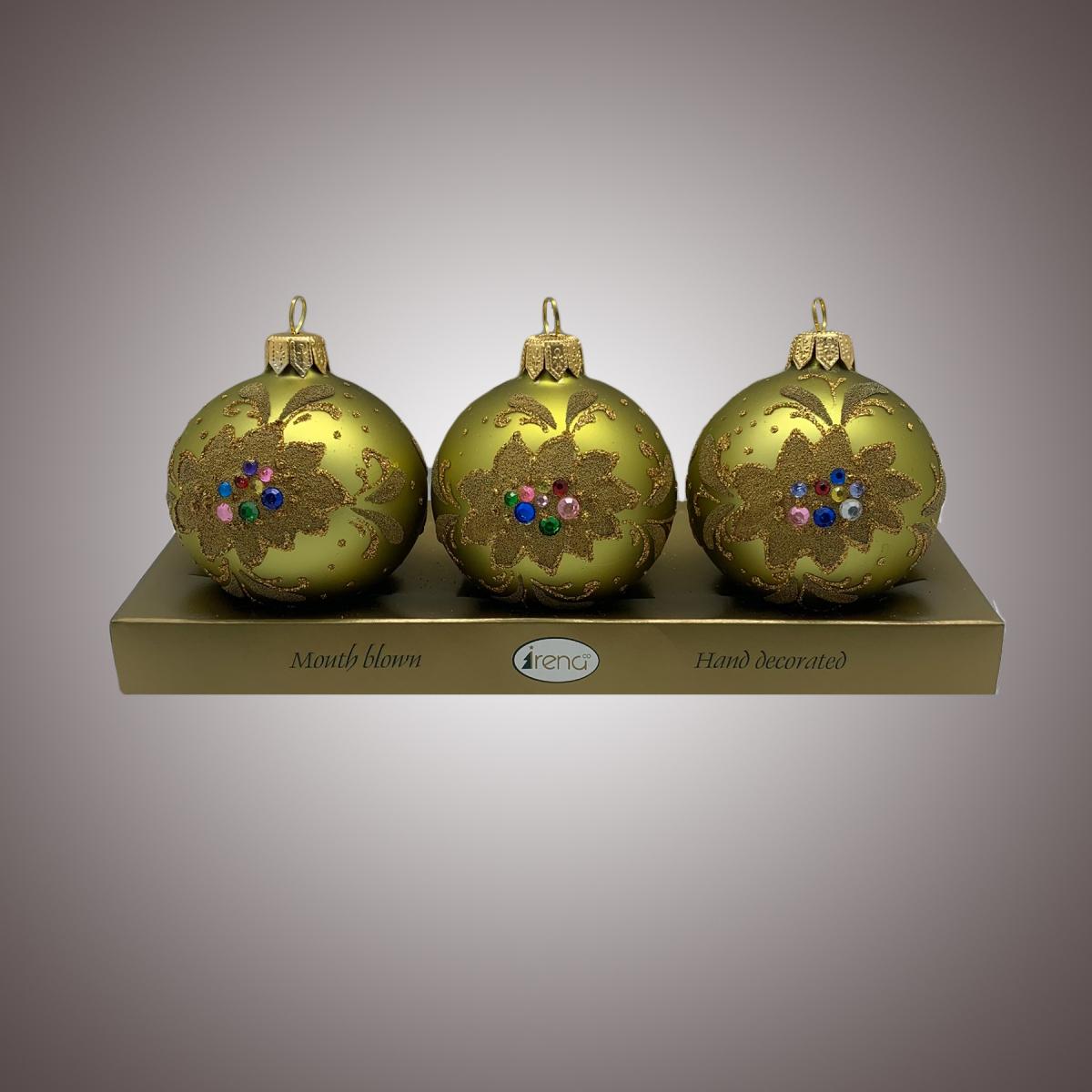Набор шаров Д60 по 3 шт Пуансетия олива АРТ 80328