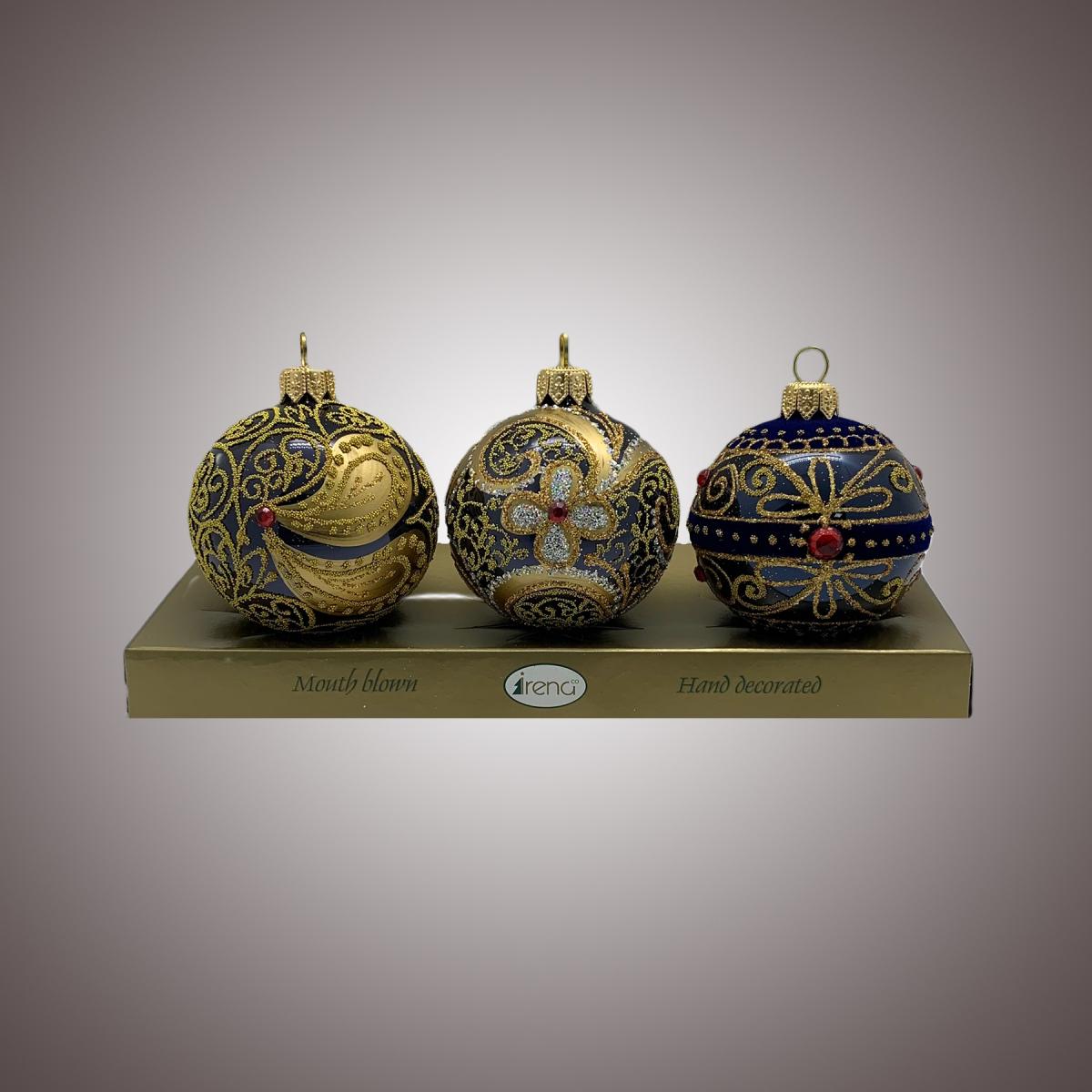 Набор шаров Д60 по 3 шт Инкрустация, флок бабочка, восток (чёрно-синие) АРТ. 80352