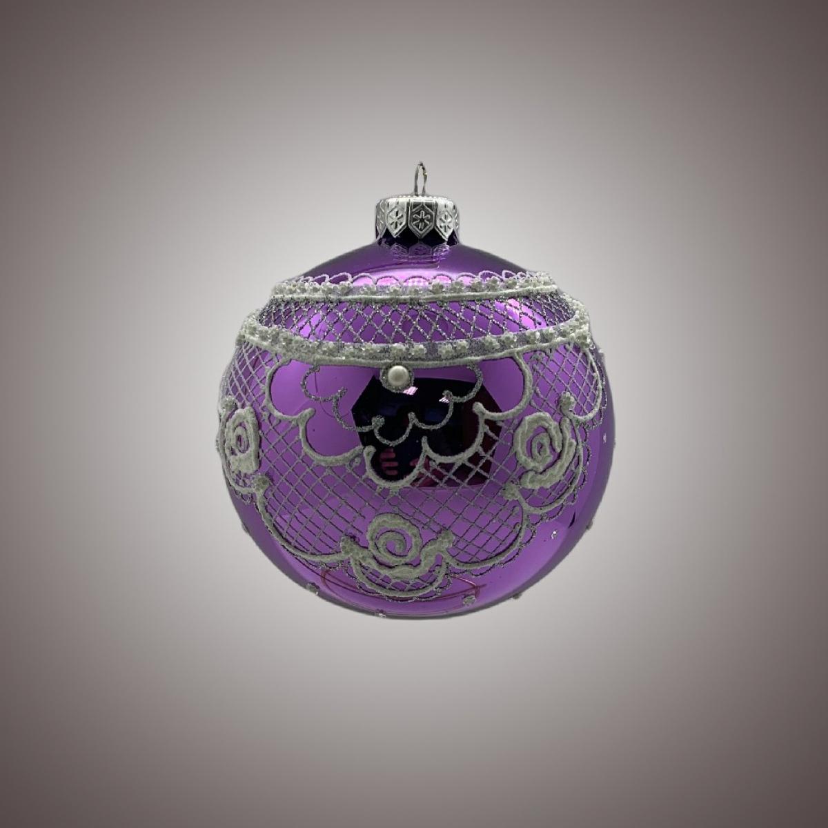 Шар Д 100 в инд.упак. Кружево на фиолетовом АРТ 91541