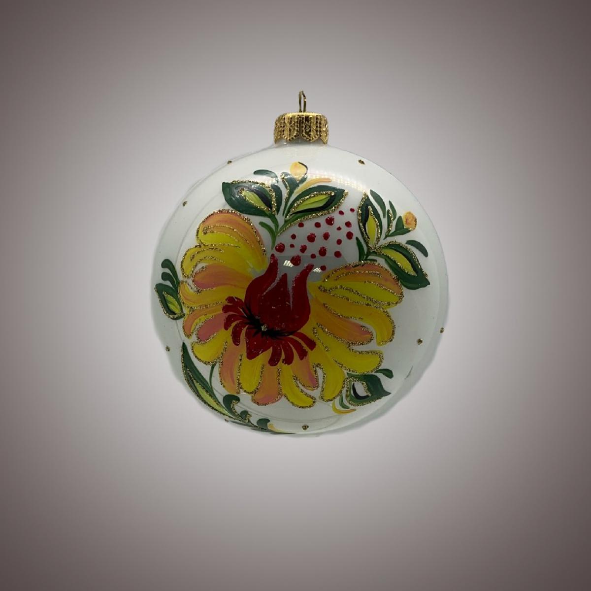 Шар Д 100 в инд.упак. Жёлтый цветок на белом АРТ 91563